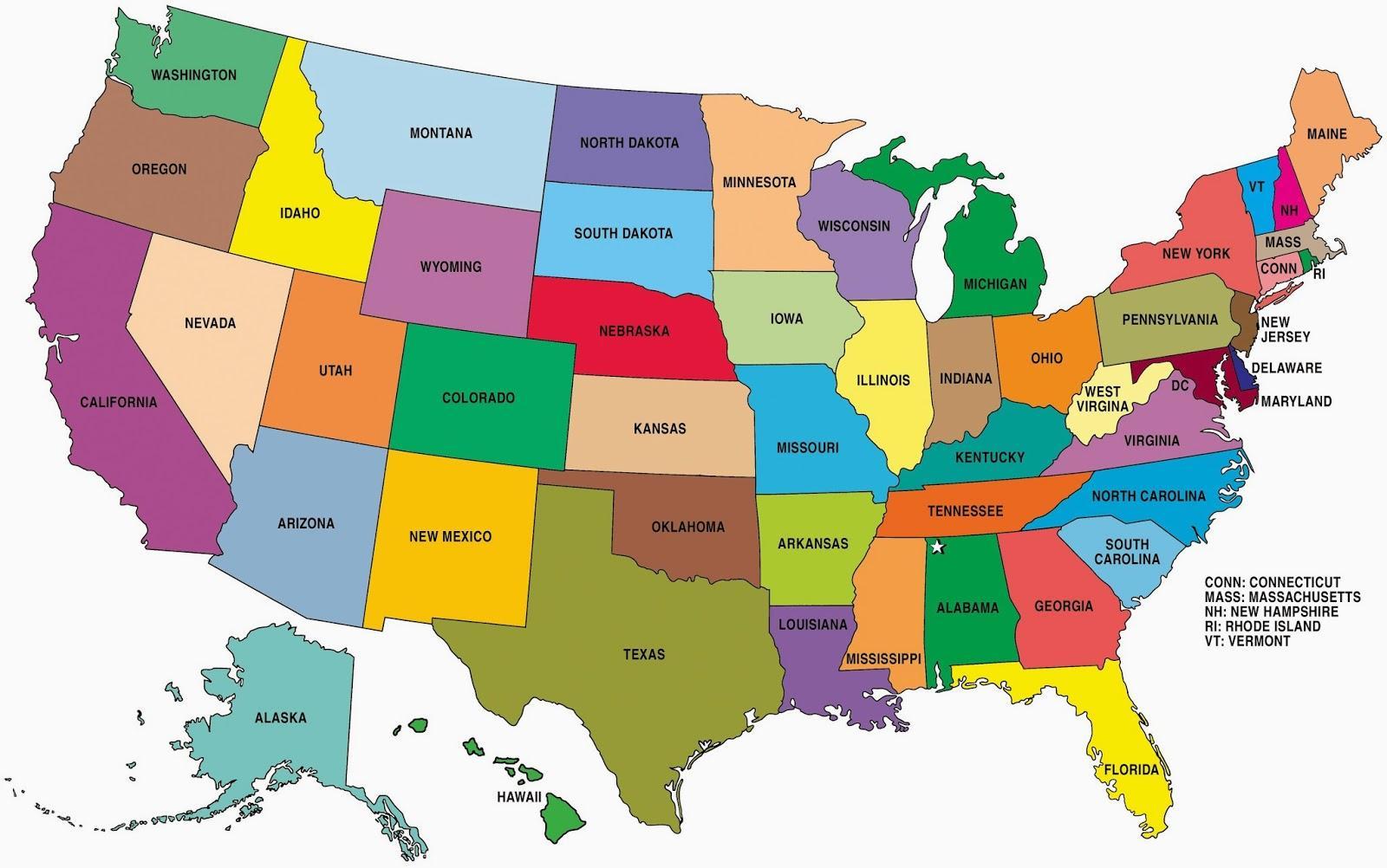 Mapa Stanow W Usa Mapy Stanow Usa Ameryka Polnocna Ameryka