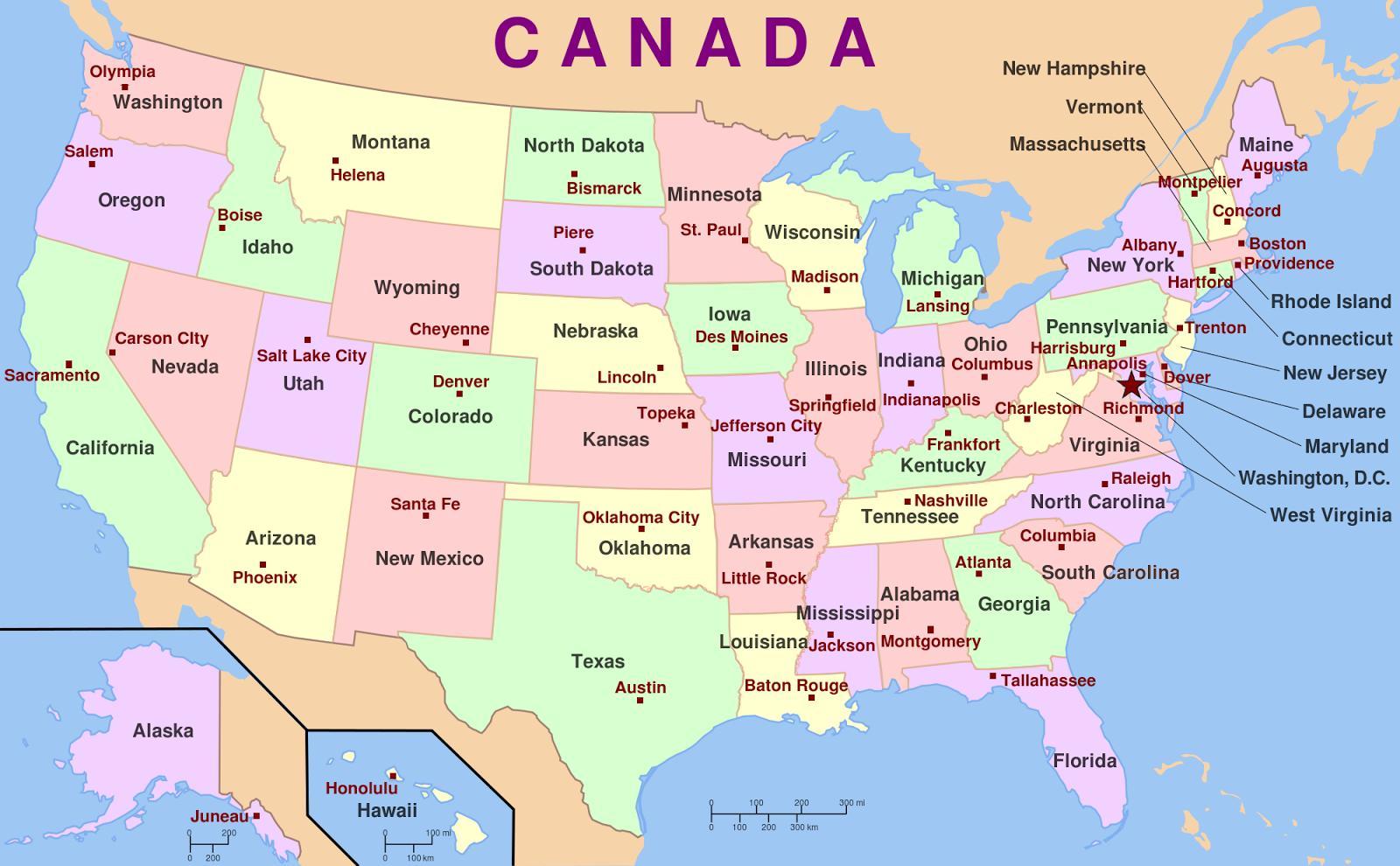 Ameryka Pa A Nocna Paa Stwa I Stolice Mapa